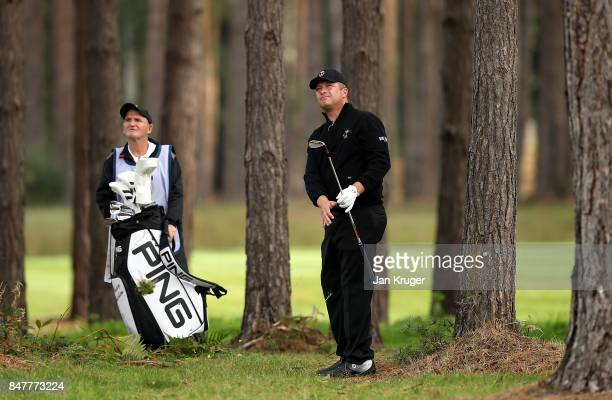 Greig Hutcheon of the Great Britain and Ireland PGA Cup in action during the morning fourball matches on day 2 of the 28th PGA Cup at Foxhills Golf...