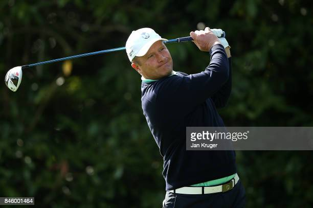 Greig Hutcheon of the Great Britain and Ireland PGA Cup team in action during a practise session ahead of the 28th PGA Cup at Foxhills Golf Course on...