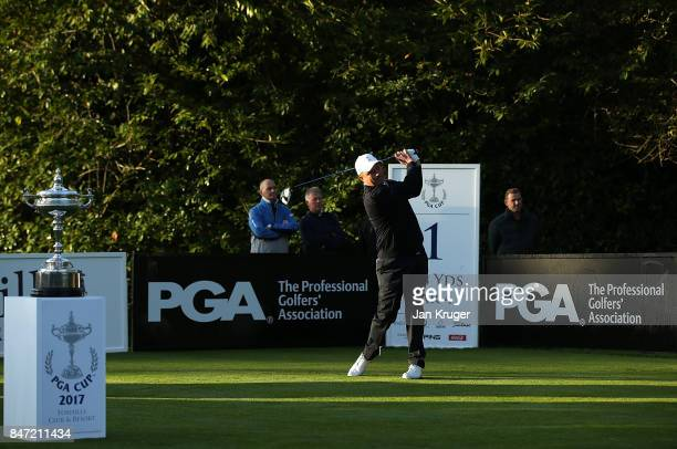 Greig Hutcheon of the Great Britain and Ireland PGA Cup team tees off during the morning fouball matches on day 1 of the 28th PGA Cup at Foxhills...