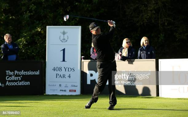 Greig Hutcheon of the Great Britain and Ireland PGA Cup team tees off during the morning fourball matches on day 2 of the 28th PGA Cup at Foxhills...