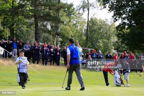 Greig Hutcheon of the Great Britain Ireland PGA Cup Team in action during the Singles Matches on Day 3 of the 28th PGA Cup Matches played at Foxhills...