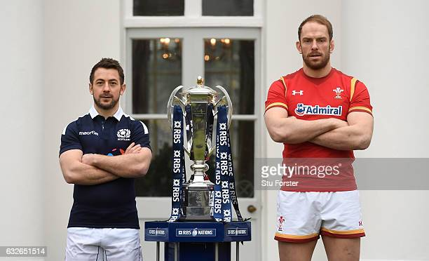 Greig Laidlaw Captain of Scotland and Alun Wyn Jones Captain of Wales pose with The Six Nations trophy during the 2017 RBS Six Nations launch at The...