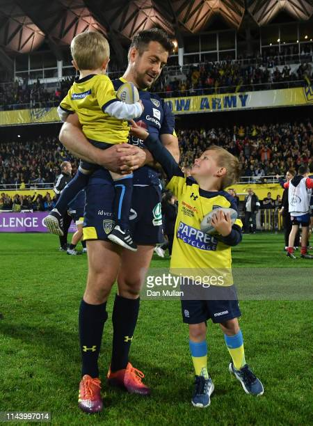 Greig Laidlaw of Clermont Auvergne and his children take in the atmosphere following his side's victory during the European Challenge Cup Semi Final...