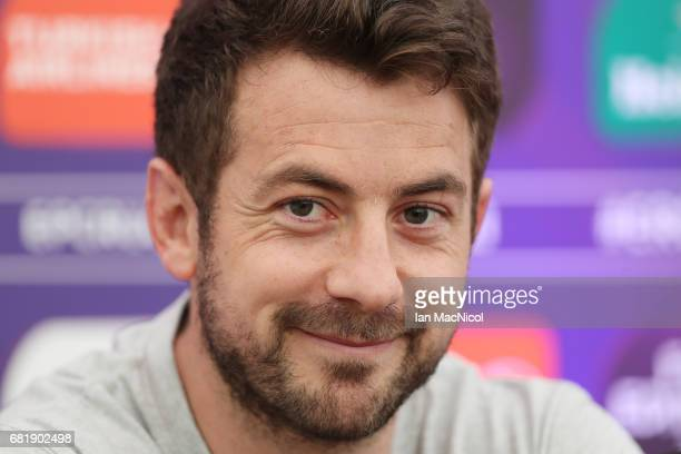Greig Laidlaw of Gloucester speaks to the media during a press conference ahead of the ERC Challenge Cup final between Gloucester and Stade Francais...