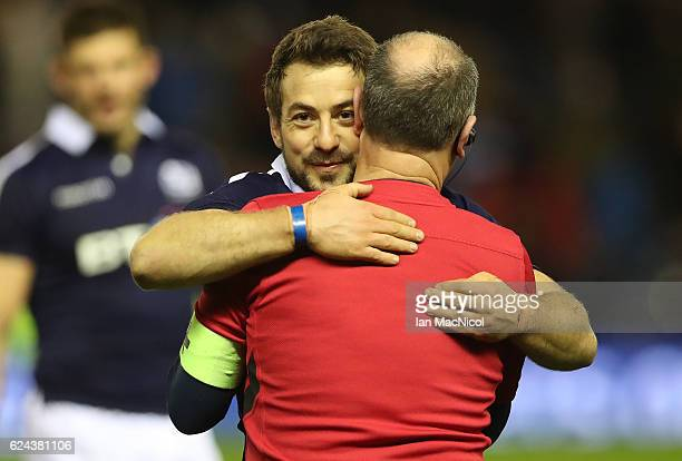 Greig Laidlaw of Scotland celebrates after he secures a last kick win during the Scotland v Argentina Autumn Test Match at Murrayfield Stadium...
