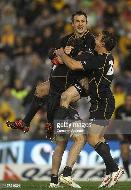 Greig Laidlaw of Scotland celebrates kicking the winning penalty during the International Test match between the Australian Wallabies and Scotland at...