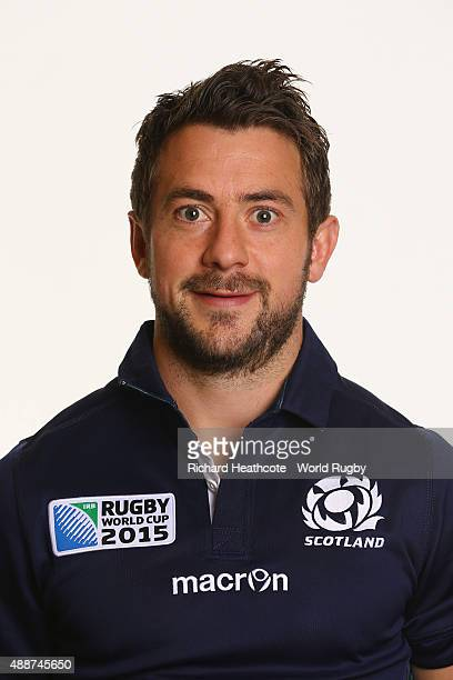 Greig Laidlaw of Scotland during the Scotland Rugby World Cup 2015 squad photo call at the Hilton Puckrup Hall Hotel on September 17 2015 in...