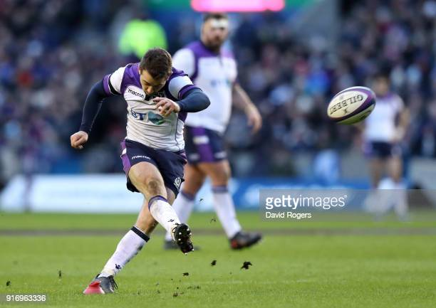 Greig Laidlaw of Scotland kicks a penalty during the NatWest Six Nations match between Scotland and France at Murrayfield on February 11 2018 in...