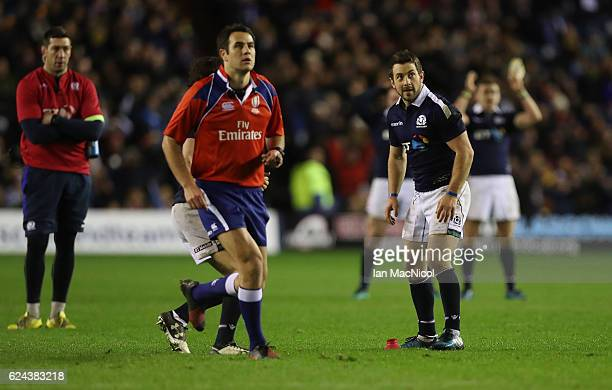 Greig Laidlaw of Scotland looks on after the last kick of the game and secures a win during the Scotland v Argentina Autumn Test Match at Murrayfield...
