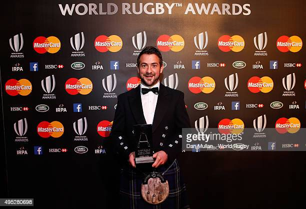 Greig Laidlaw of Scotland poses after receiving the Societe Generale RWC Dream Team award during the World Rugby Awards 2015 at Battersea Evolution...