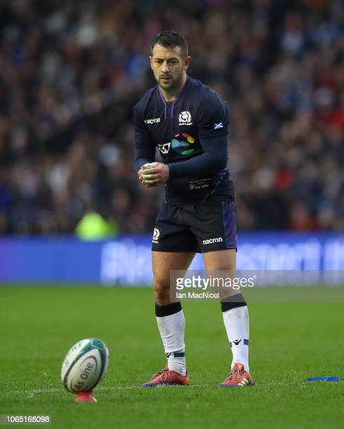 Greig Laidlaw of Scotland prepares to kick a penalty during the International Friendly match between Scotland and Argentina at Murrayfield Stadium on...
