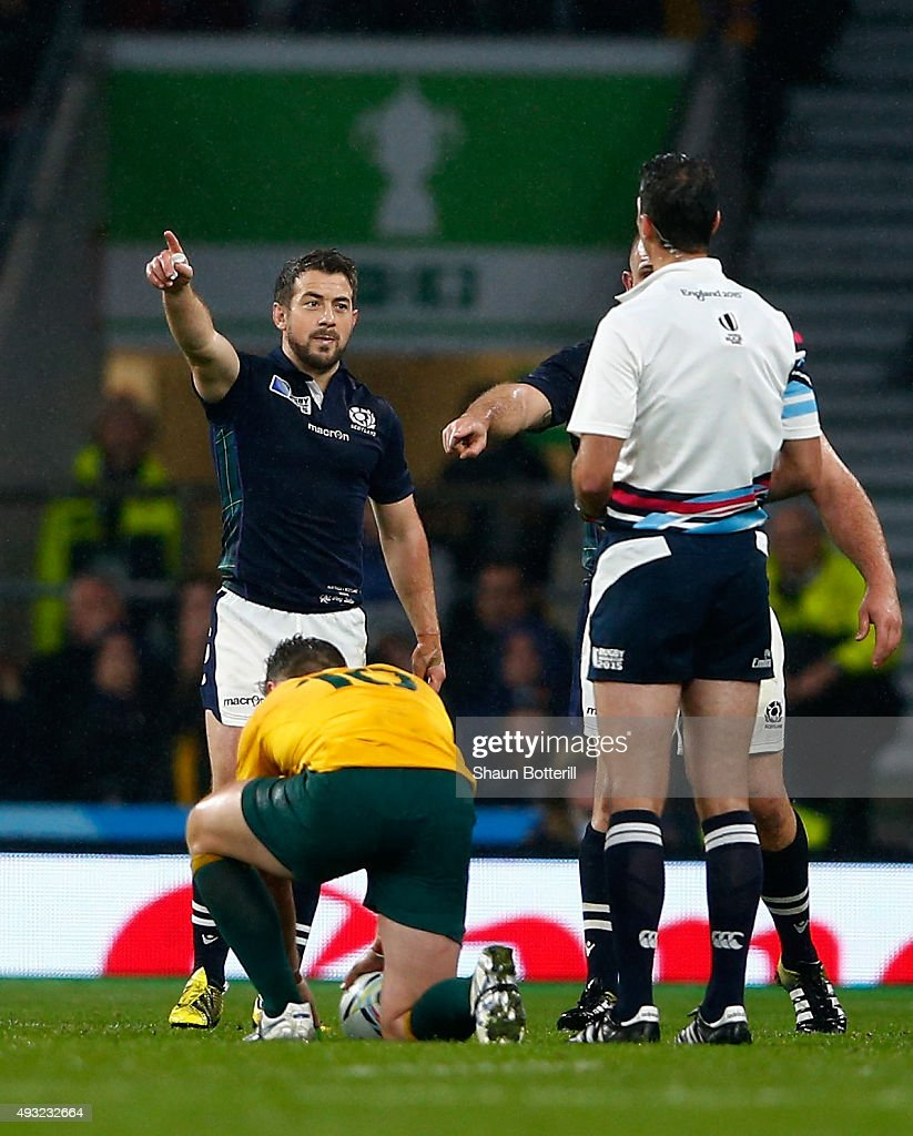 Scotland V Australia World Rugby: Greig Laidlaw Of Scotland Talks To Referee Craig Joubert