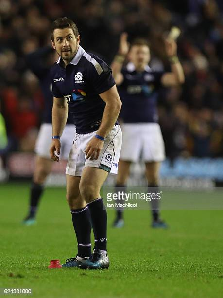 Greig Laidlaw of Scotland watches his penalty go between the post to secure a win during the Scotland v Argentina Autumn Test Match at Murrayfield...