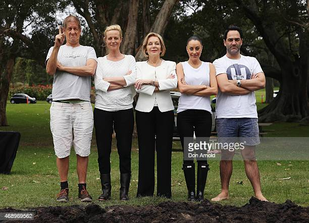 Greig PickhaverMarta DusseldorpIta ButtroseTerri Biviano and Michael Wipfli pose prior to participating in a mud fight to raise awareness about the...