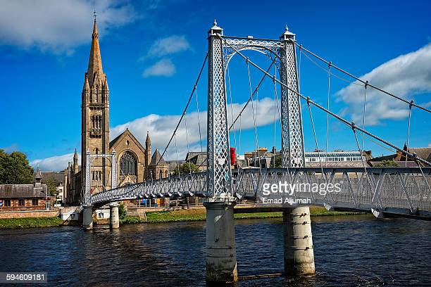 greig street bridge, inverness, scotland - inverness stock photos and pictures