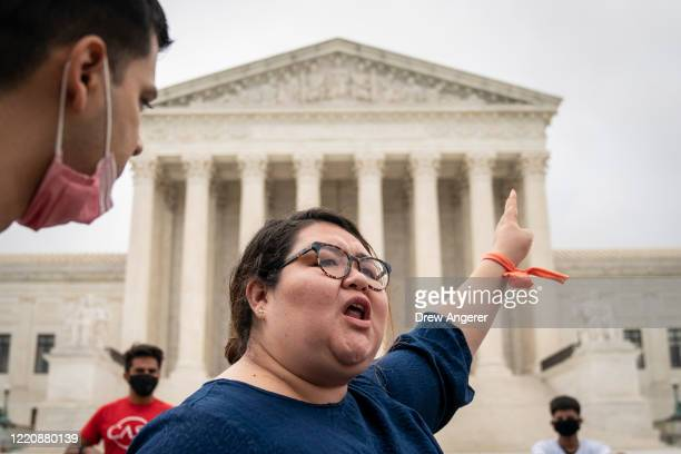 Greisa Martinez who grew up as an undocumented immigrant in Dallas Texas reacts following the Supreme Court's decision regarding the Trump...