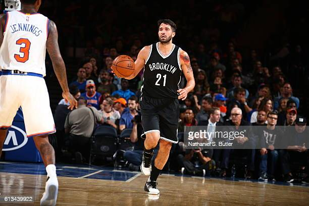 Greivis Vasquez of the Brooklyn Nets handles the ball against the New York Knicks at Madison Square Garden in New York City on OCTOBER 8 2016 NOTE TO...