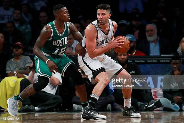 Greivis Vasquez of the Brooklyn Nets in action against Terry Rozier of the Boston Celtics during the preseason game at Barclays Center on October 13...