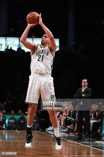 Greivis Vasquez of the Brooklyn Nets puts up a three pointer during the first half of the preseason game against the Boston Celtics at Barclays...