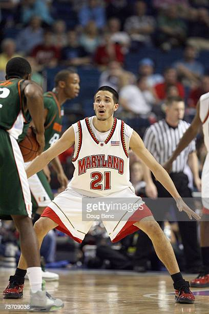 Greivis Vasquez of the Maryland Terrapins guards his player against the Miami Hurricanes in the opening round of the ACC Men's Basketball Tournament...