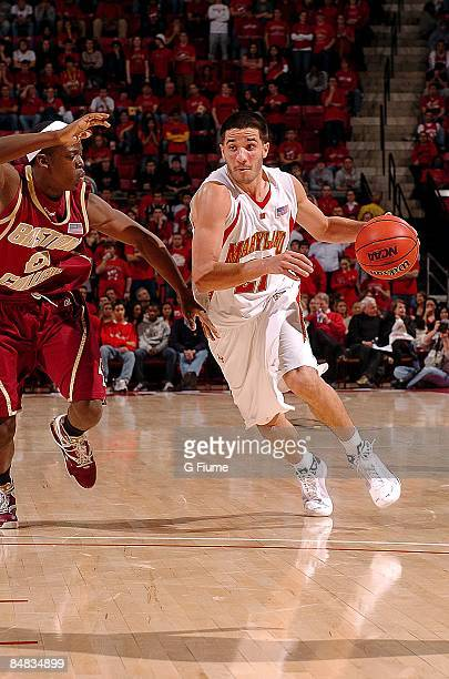 Greivis Vasquez of the Maryland Terrapins handles the ball against the Boston College Eagles at the Comcast Center on January 27, 2009 in College...