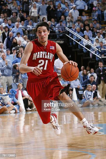 Greivis Vasquez of the Maryland Terrapins moves the ball during the college basketball game against the North Carolina Tar Heels at Dean E Smith...