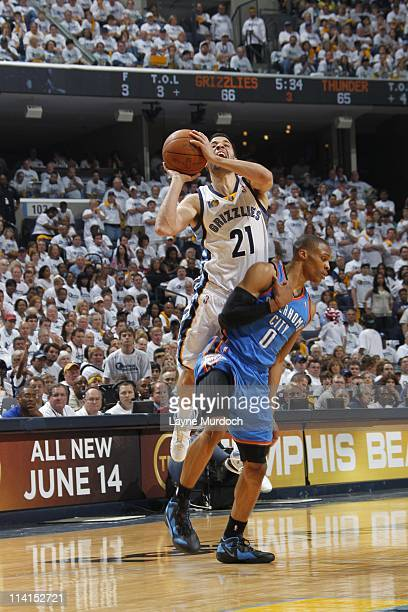 Greivis Vasquez of the Memphis Grizzlies shoots the ball against the Oklahoma City Thunder in Game Four of the Western Conference Semifinals in the...