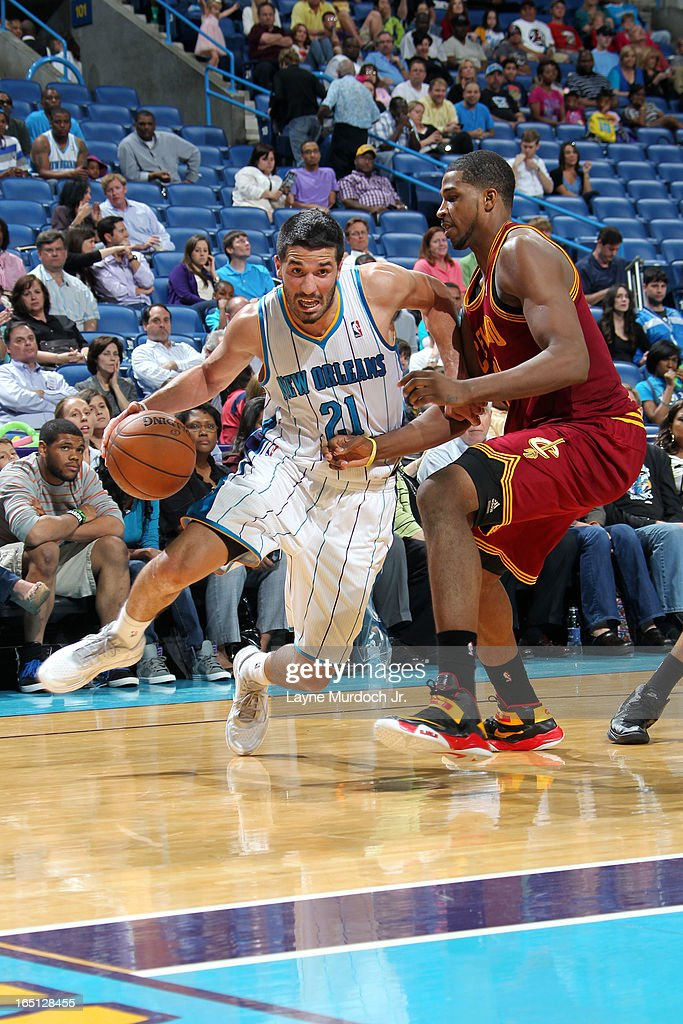 Greivis Vasquez #21 of the New Orleans Hornets drives against Tristan Thompson #13 of the Cleveland Cavaliers on March 31, 2013 at the New Orleans Arena in New Orleans, Louisiana.