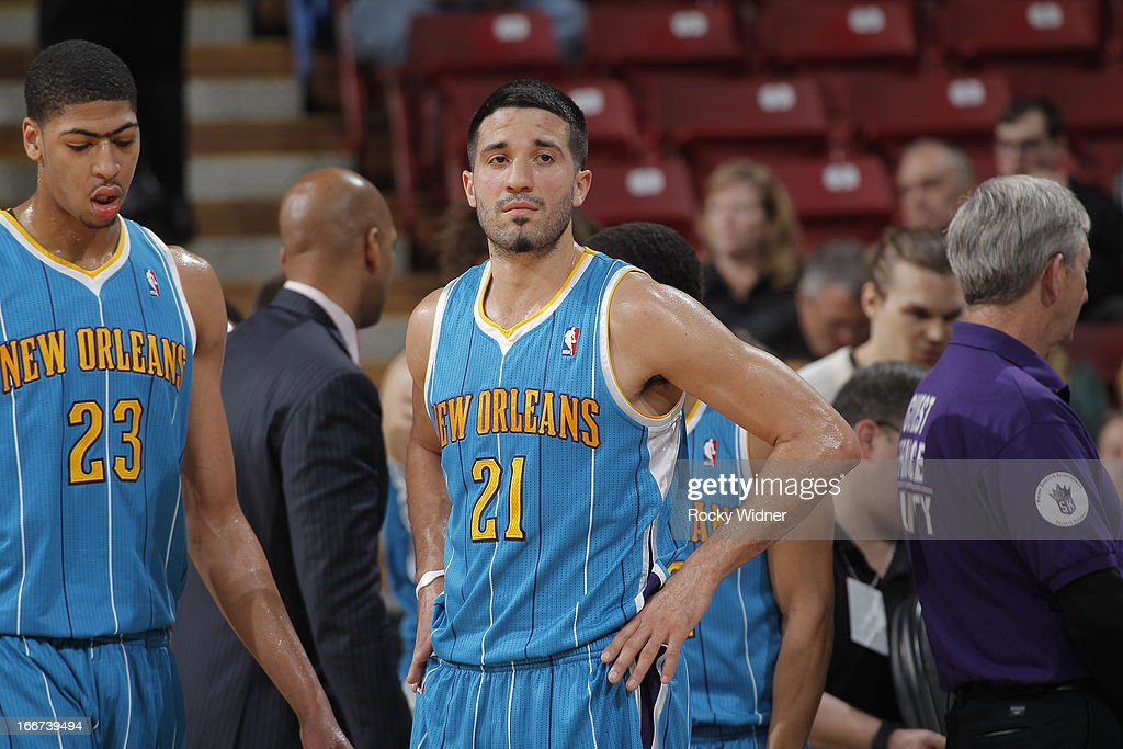 Greivis Vasquez #21 of the New Orleans Hornets in a game against the Sacramento Kings on April 10, 2013 at Sleep Train Arena in Sacramento, California.