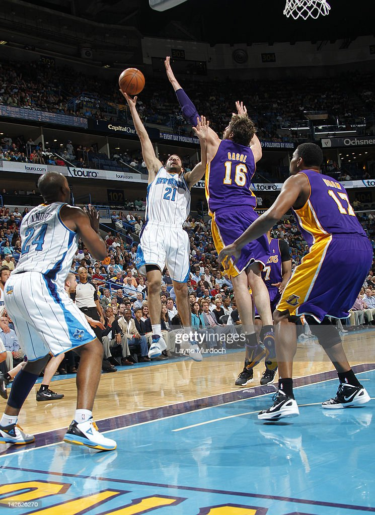 Greivis Vasquez #21 of the New Orleans Hornets shoots against Pau Gasol #16 of the Los Angeles Lakers on April 9, 2012 at the New Orleans Arena in New Orleans, Louisiana.