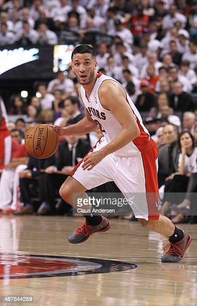 Greivis Vasquez of the Toronto Raptors controls the play against the Brooklyn Nets in Game Five of the NBA Eastern Conference Quarterfinals at the...