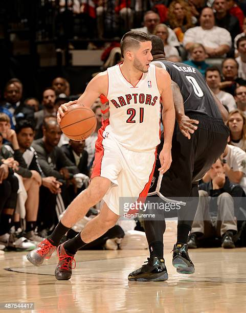 Greivis Vasquez of the Toronto Raptors drives against the Brooklyn Nets in Game Five of the Eastern Conference Quarterfinals during the 2014 NBA...