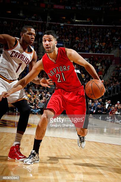 Greivis Vasquez of the Toronto Raptors drives against the Cleveland Cavaliers on December 9 2014 at The Quicken Loans Arena in Cleveland Ohio NOTE TO...