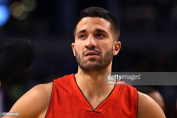 Greivis Vasquez of the Toronto Raptors looks on after a play against the Boston Celtics at TD Garden on November 5 2014 in Boston Massachusetts NOTE...