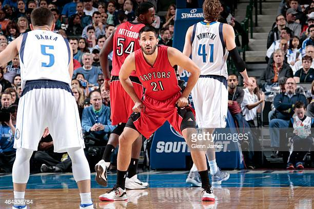 Greivis Vasquez of the Toronto Raptors plays guards his position against the Dallas Mavericks on February 24 2015 at the American Airlines Center in...