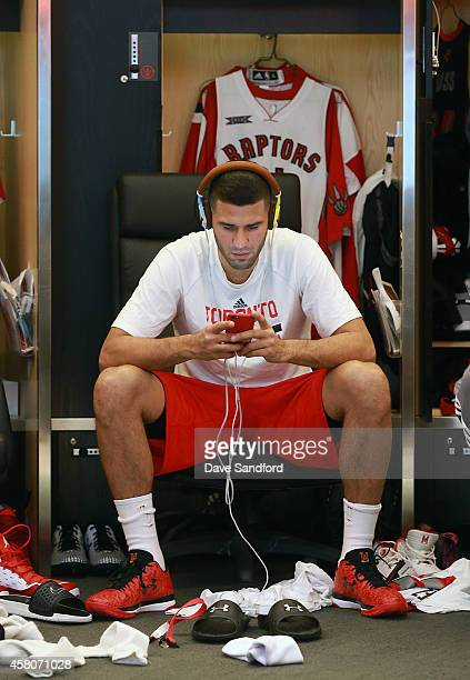 Greivis Vasquez of the Toronto Raptors prepares to face the Atlanta Hawks during their NBA game at the Air Canada Centre on October 29 2014 in...