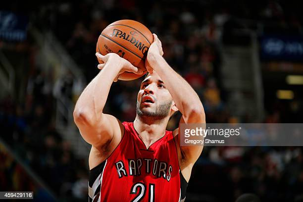 Greivis Vasquez of the Toronto Raptors shoots against the Toronto Raptors during the game on November 22 2014 at Quicken Loans Arena in Cleveland...