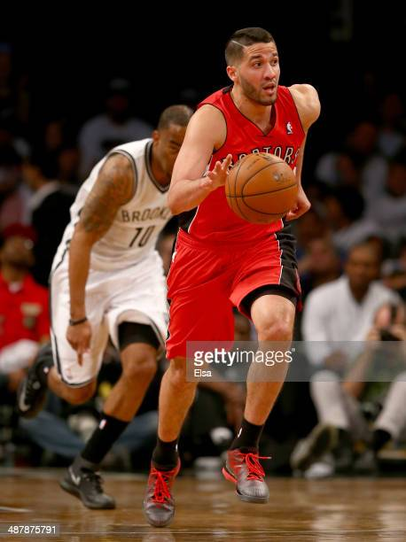 Greivis Vasquez of the Toronto Raptors steals the ball from Marcus Thornton of the Brooklyn Nets in the second half in Game Six of the Eastern...