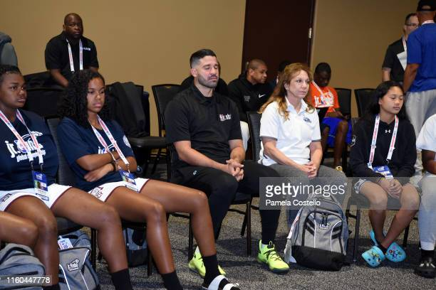 Greivis Vásquez meditates with the players during the Life Skills Session during the Jr NBA Global Championship on August 7 2019 at the Gaylord Palms...