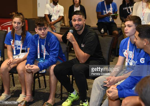 Greivis Vásquez talks with the players during the Life Skills Session during the Jr NBA Global Championship on August 7 2019 at the Gaylord Palms...