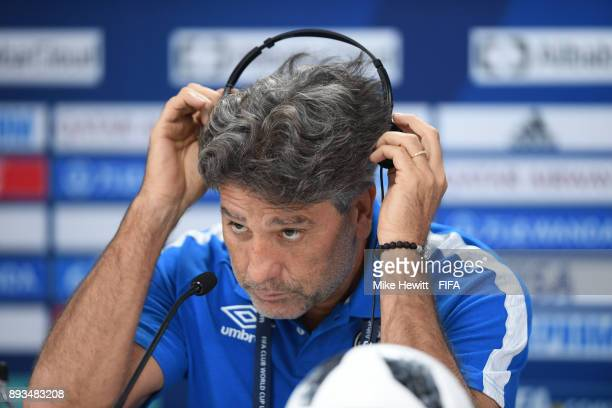 Gremio coach Renato Gaucho faces the media during a press conference ahead of the FIFA Club World Cup UAE 2017 Final between Real Madrid and Gremio...