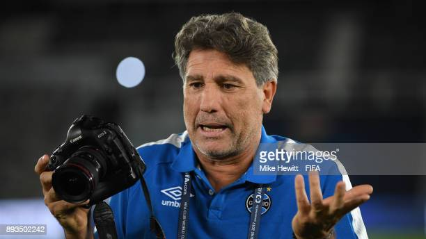 Gremio coach Renato Gaucho tries his hand at photography during a stadium visit ahead of the FIFA Club World Cup UAE 2017 Final between Real Madrid...