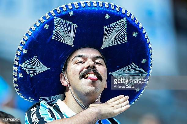 Gremio fan before the Gremio v Internacional match as part of Brasileirao  Series A 2014 at 3cce91153a8a0