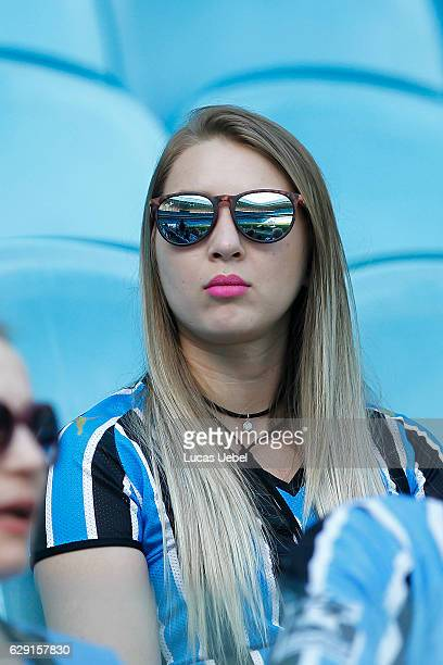 Gremio fan before the match Gremio v Botafogo as part of Brasileirao Series A 2016 at Arena do Gremio on December 11 in Porto Alegre Brazil