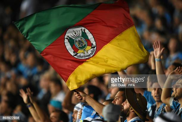Gremio fans celebrate during the FIFA Club World Cup UAE 2017 final match between Gremio and Real Madrid at Zayed Sports City Stadium on December 16...