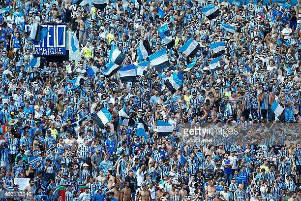 Gremio fans during the match Gremio v Flamengo as part of Brasileirao Series A 2014 at Arena do Gremio on December 7 2014 in Porto Alegre Brazil
