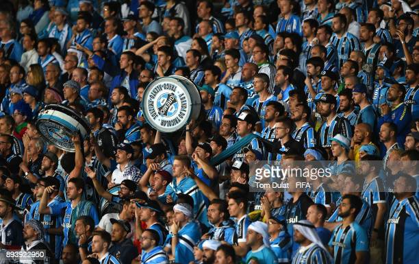 Gremio fans watch the action during the FIFA Club World Cup UAE 2017 final match between Gremio and Real Madrid at Zayed Sports City Stadium on...