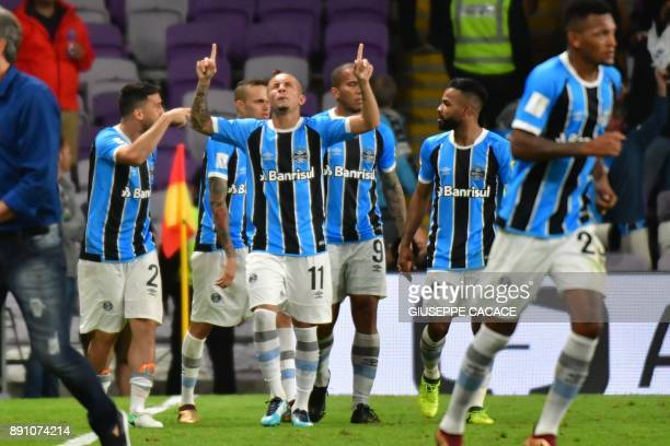 Gremio FBPA' forward Everton of Brasil celebrates after scoring a goal during the first semifinal FIFA Club World Cup UAE 2017 football match Gremio...
