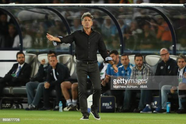 Gremio FBPA Head Coach / Manager Renato Gaucho gestures during the FIFA Club World Cup UAE 2017 final match between Gremio and Real Madrid CF at...