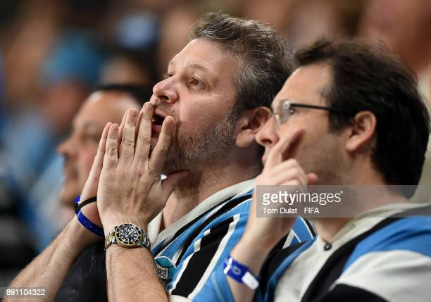 Gremio FBPA supporters react during the FIFA Club World Cup UAE 2017 match between Gremio FBPA and CF Pachuca at Hazza Bin Zayed Stadium on December...